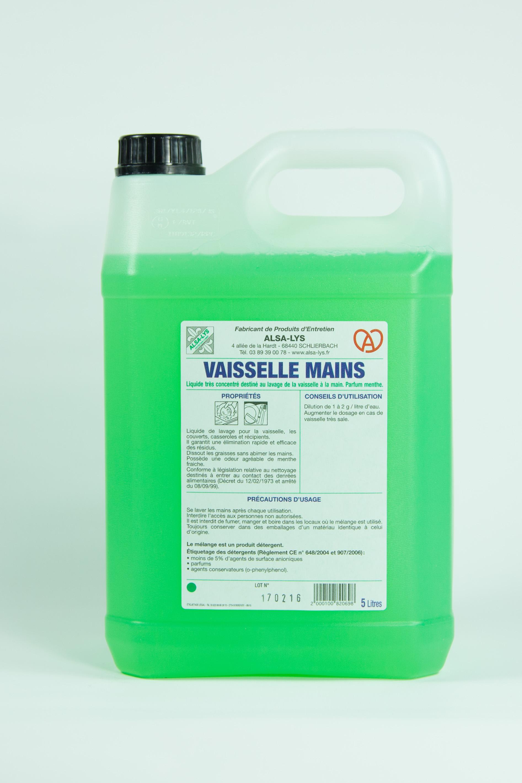 liquide vaisselle pour lavage main parfum menthe, 5 litres